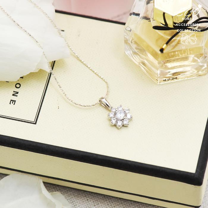 晶鑽,花朵,水鑽銀鍊,鎖骨項鍊,925純銀項鍊,純銀飾品
