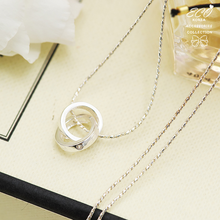 雙圈,雙圓,圖騰,圓圈,鎖骨項鍊,925純銀項鍊,純銀飾品