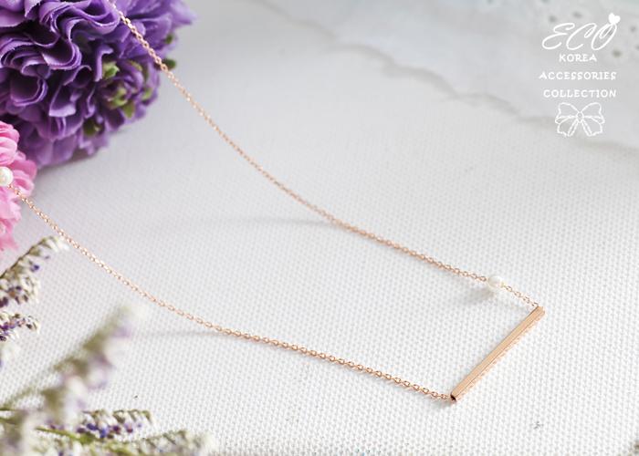 直線,珍珠,俐落,鎖骨項鍊,項鍊,韓貨,韓製,項鍊