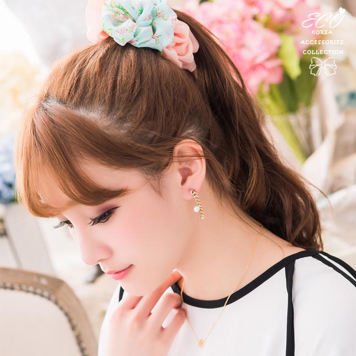 鎖鍊,珍珠,圓鑽,個性,夾式耳環,無耳洞耳環,韓製,韓國,耳環