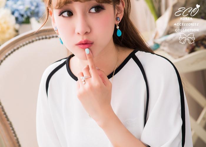 釉彩,珍珠,花朵,千鳥格,雙色,夾式耳環,無耳洞耳環,韓製,韓國,耳環