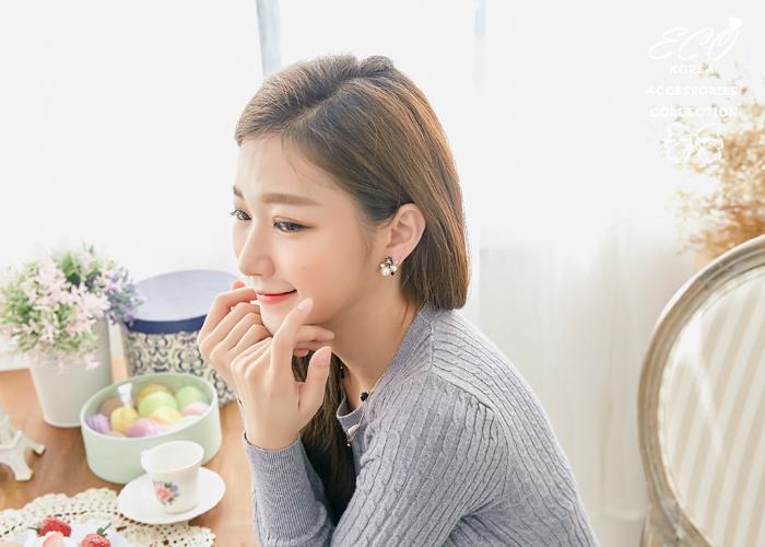 雛菊,小花,花朵,珍珠,鑽,夾式耳環,無耳洞耳環,韓製,韓國,耳環