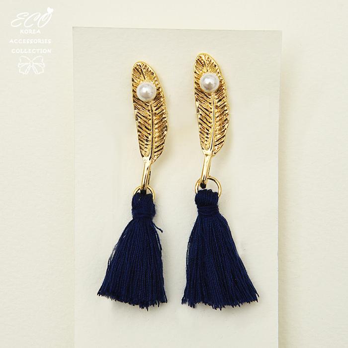神秘,流蘇,羽翼,羽毛,夾式耳環,無耳洞耳環,韓製,韓國,耳環