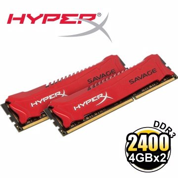 *╯新風尚潮流╭*金士頓 4GBx2 HyperX SAVAGE DDR3-2400 桌上型超頻記憶體 HX324C11SRK2/8