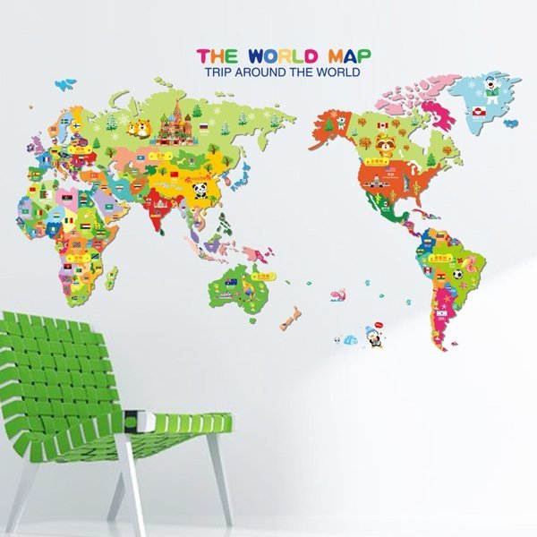 BO雜貨【YV0627】DIY時尚裝飾組合可移動壁貼 牆貼 壁貼 創意壁貼 卡通世界地圖 XL7123