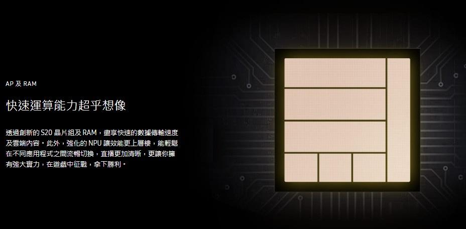 透過創新的 S20 晶片組及 RAM,盡享快速的數據傳輸速度及雲端內容。此外,強化的 NPU 讓效能更上層樓,能輕鬆在不同應用程式之間流暢切換,直播更加清晰,更讓你擁有強大實力,在遊戲中征戰,拿下勝利。