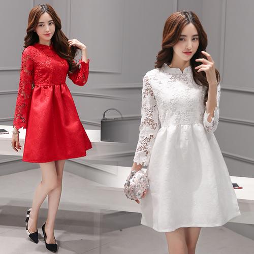 [全店滿700結帳現折$100] SaSa 復古改良旗袍領蕾絲縷空提花長袖洋裝