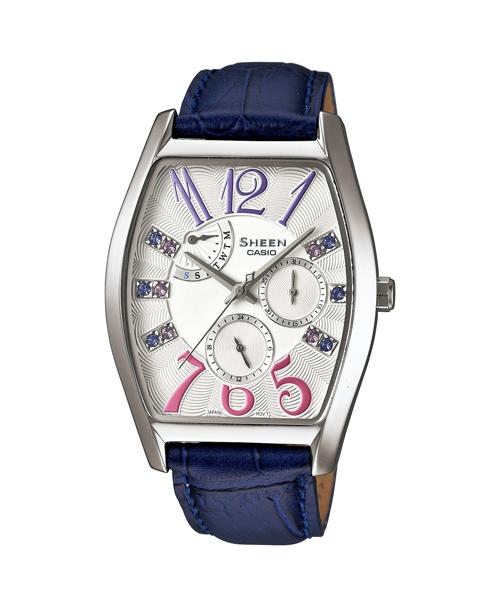 CASIO SHEEN SHE-3026L-7A3典雅酒桶多功能流行腕錶/藍色46*34mm