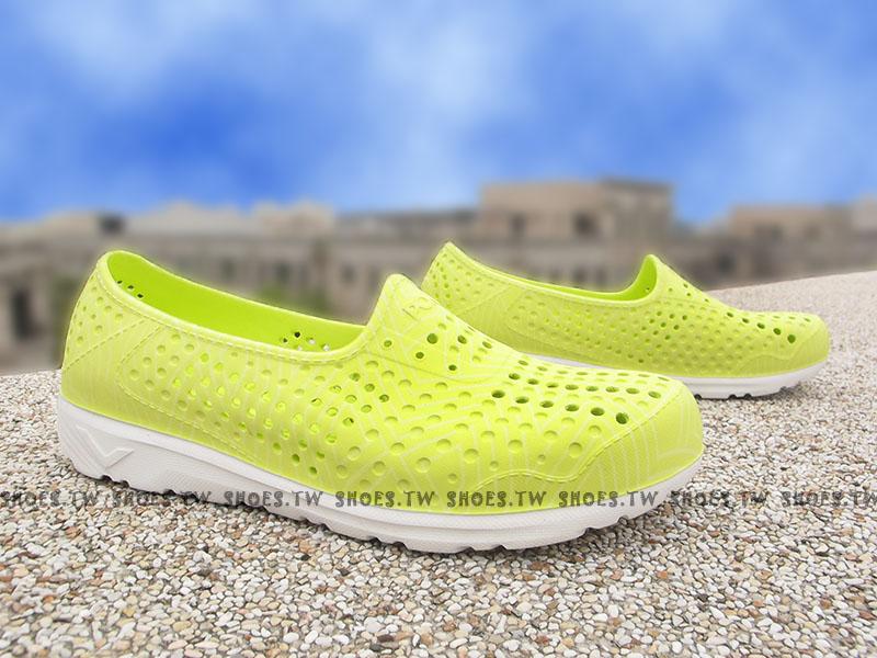 《限時特價79折》Shoestw【62U1SA61LY】PONY TROPIC 水鞋 軟Q 防水 懶人鞋洞洞鞋 螢黃線條 親子
