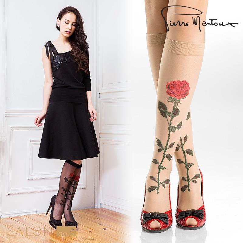 {8折} 義大利Pierre Mantoux浪漫一支玫瑰絲襪 仿紋身性感及膝襪 歐洲精品