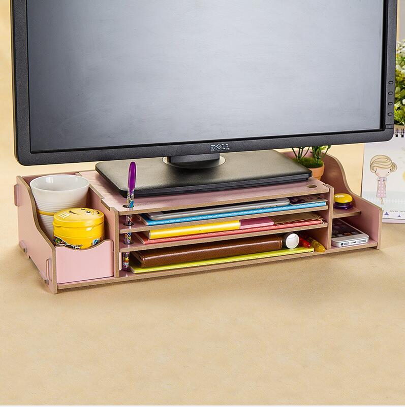 WallFree窩自在★升級可調高度加厚木質電腦螢幕收納架-粉紅