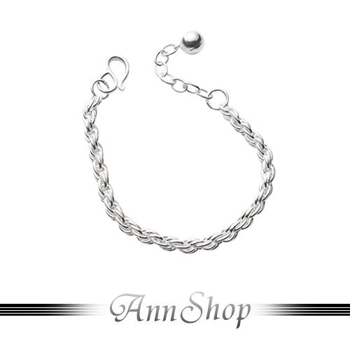 【圓面編織純銀小孩手鍊‧925純銀】嚴選熱賣款寶貝彌月禮珠寶銀飾禮品b9133