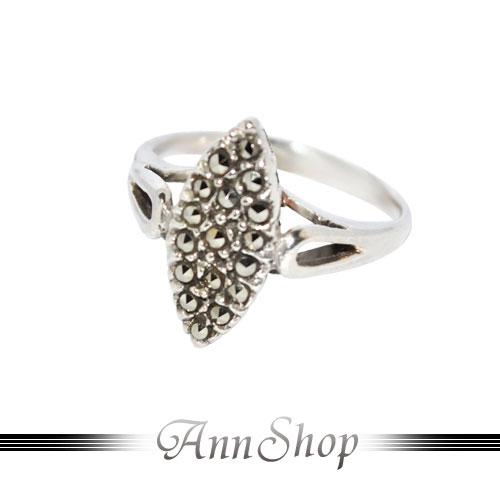 AnnShop【菱形圓金剛鑽純銀戒指‧925純銀】小安的店經典復古風裸空銀飾禮品r91455