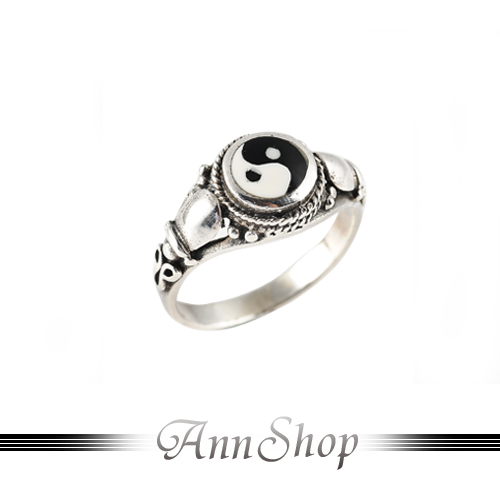 AnnShop【太極純銀戒指‧925純銀】小安的店不生鏽開運平安銀飾禮品r9076