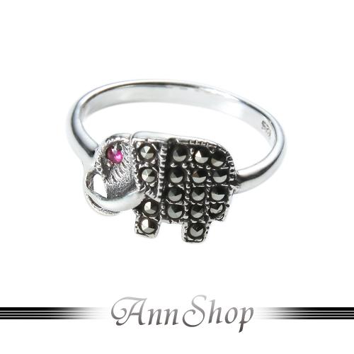 AnnShop【招財小象純銀戒指‧925純銀】小安的店動物造型晶鑽飾品禮品r91595