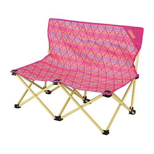 【露營趣】中和 附手電筒 Coleman CM-22003 紅葉圖騰情人椅 折疊椅 摺疊椅 休閒椅 對對椅 童軍椅