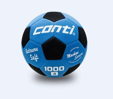 [陽光樂活] CONTI 足球 軟式安全足球(4號球) 藍/黑 S1000-4-BKB