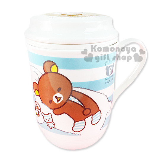 〔小禮堂〕懶懶熊 陶瓷附蓋馬克杯《藍白.趴姿.北極熊.條紋》附濾茶杯