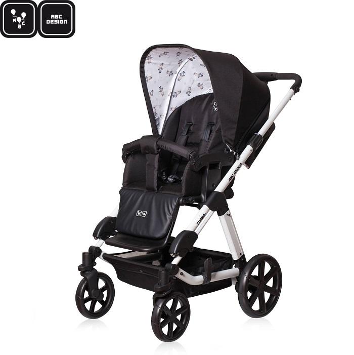 【2017新款】【雨罩蚊帳二選一】德國【ABC Design】Turbo 4 嬰兒推車-黑白款