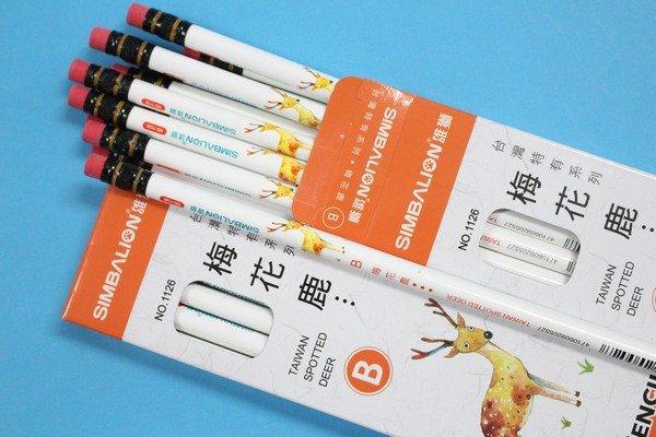 雄獅鉛筆 NO.1126(122) 台灣梅花鹿圓桿皮頭鉛筆(B)/一小盒12支入{定60}