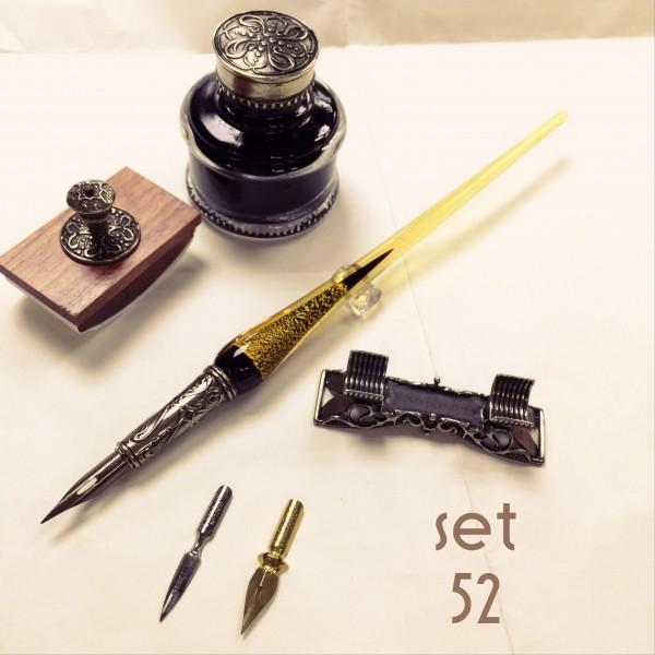 義大利 Bortoletti set52 沾水筆+筆擱+黑色墨水+壓墨器 組合 21501168457943 / 組