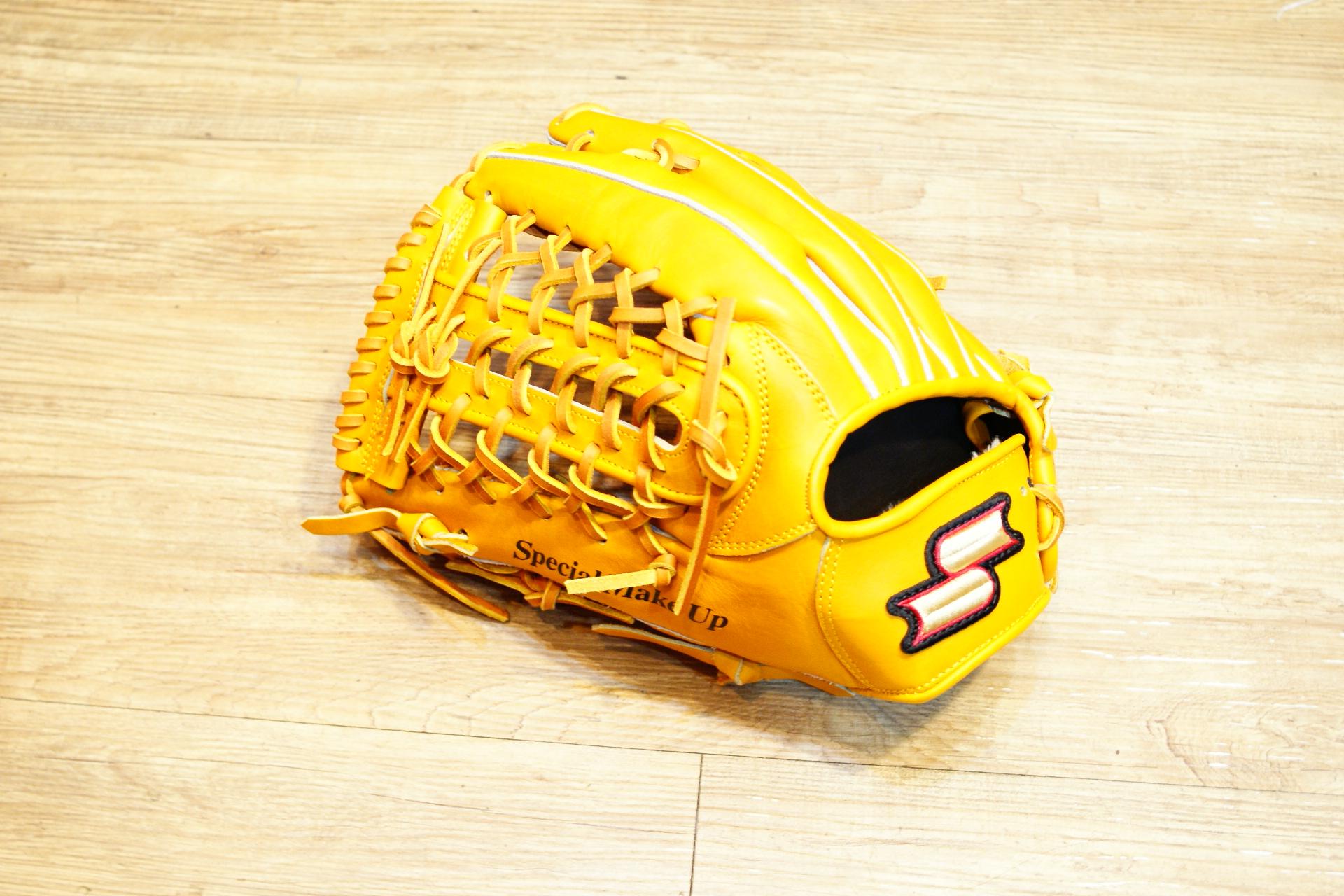 棒球世界全新SSK金標全牛皮棒壘球手套外野手用 特價 原皮色 U網球檔 65折 反手