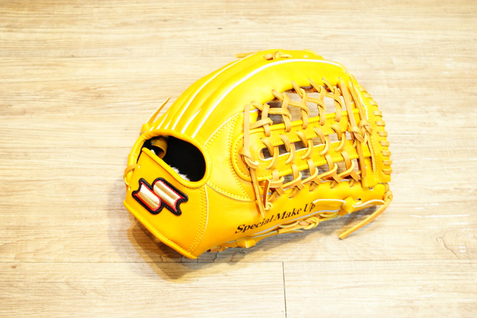 棒球世界全新SSK金標全牛皮棒壘球手套外野手用 特價 原皮色 U網球檔 65折