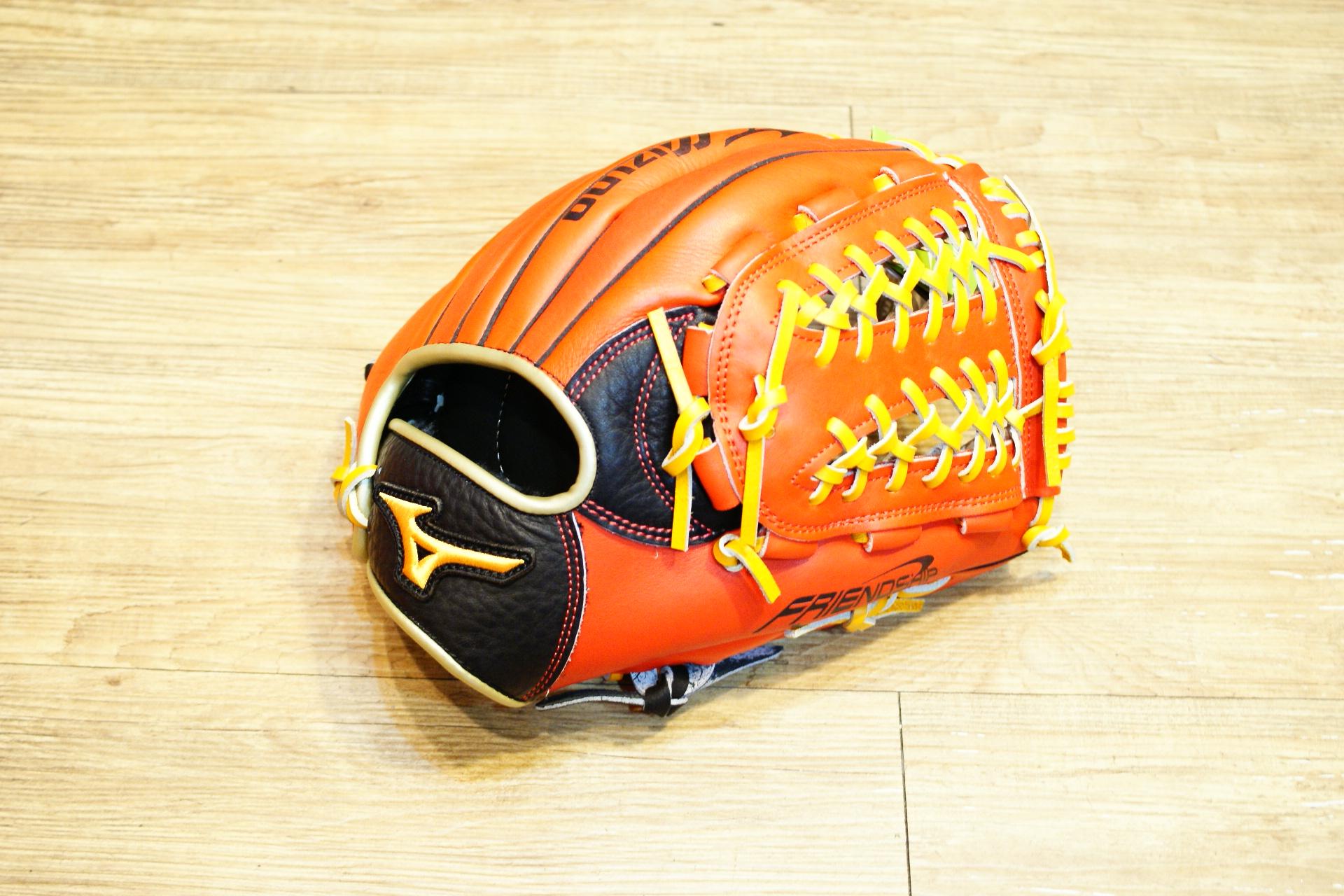 棒球世界 Mizuno 美津濃 FRIEND SHIP 壘球手套 1ATGS50870 特價黑橘配色 內網