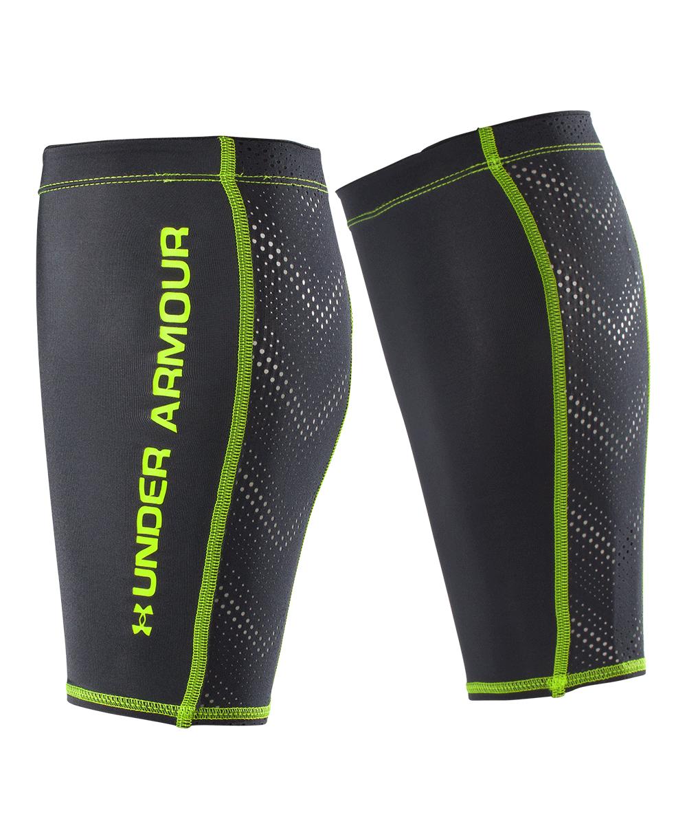 棒球世界全新 UNDER ARMOUR HG慢跑小腿護套 黑螢光