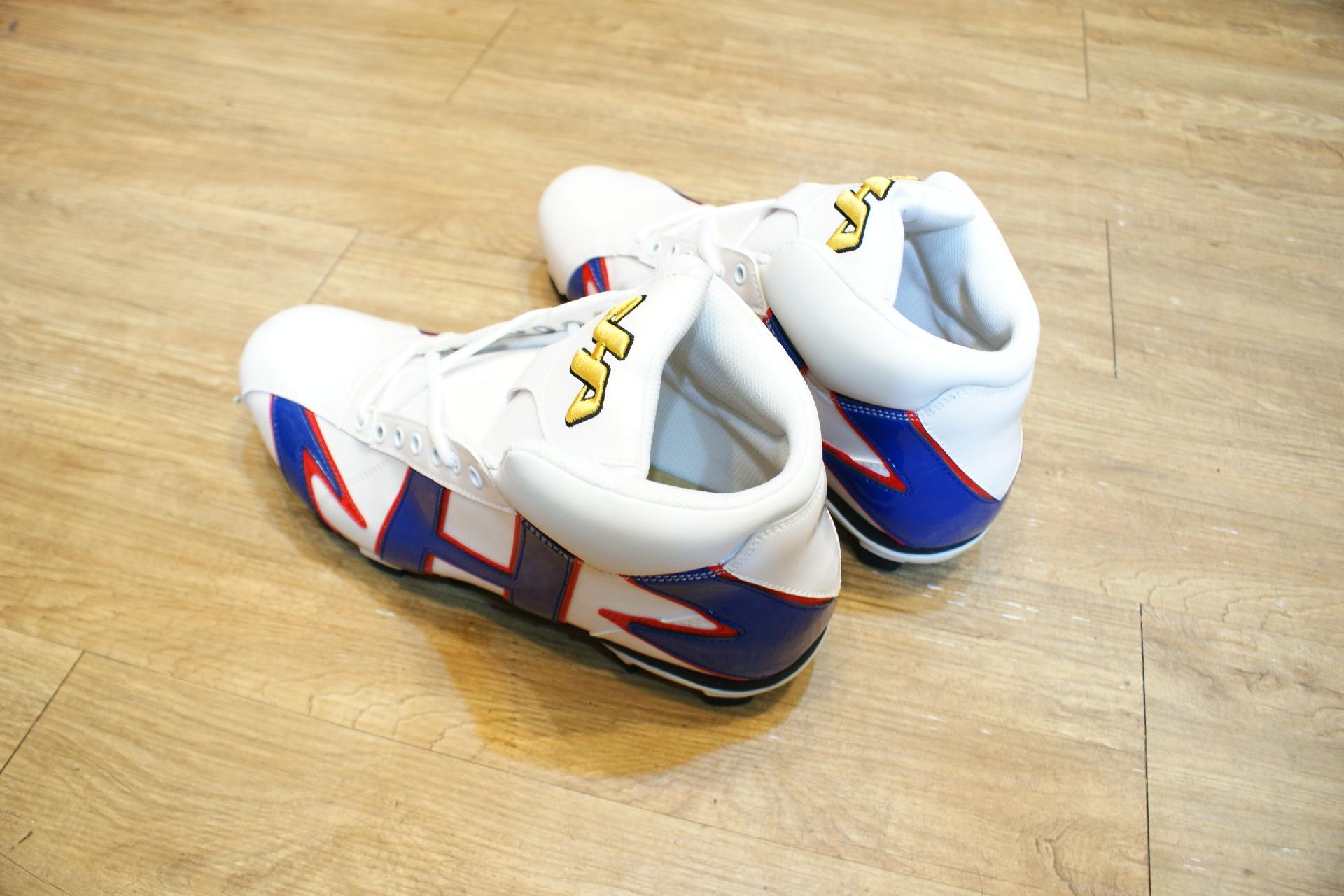 棒球世界 HA 新款亮面高筒膠釘棒壘球鞋 白寶藍配色 台灣製最低價