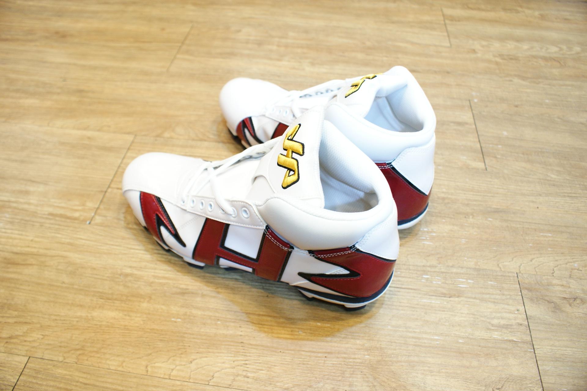 棒球世界 HA 新款亮面高筒膠釘棒壘球鞋 酒紅白配色 台灣製最低價