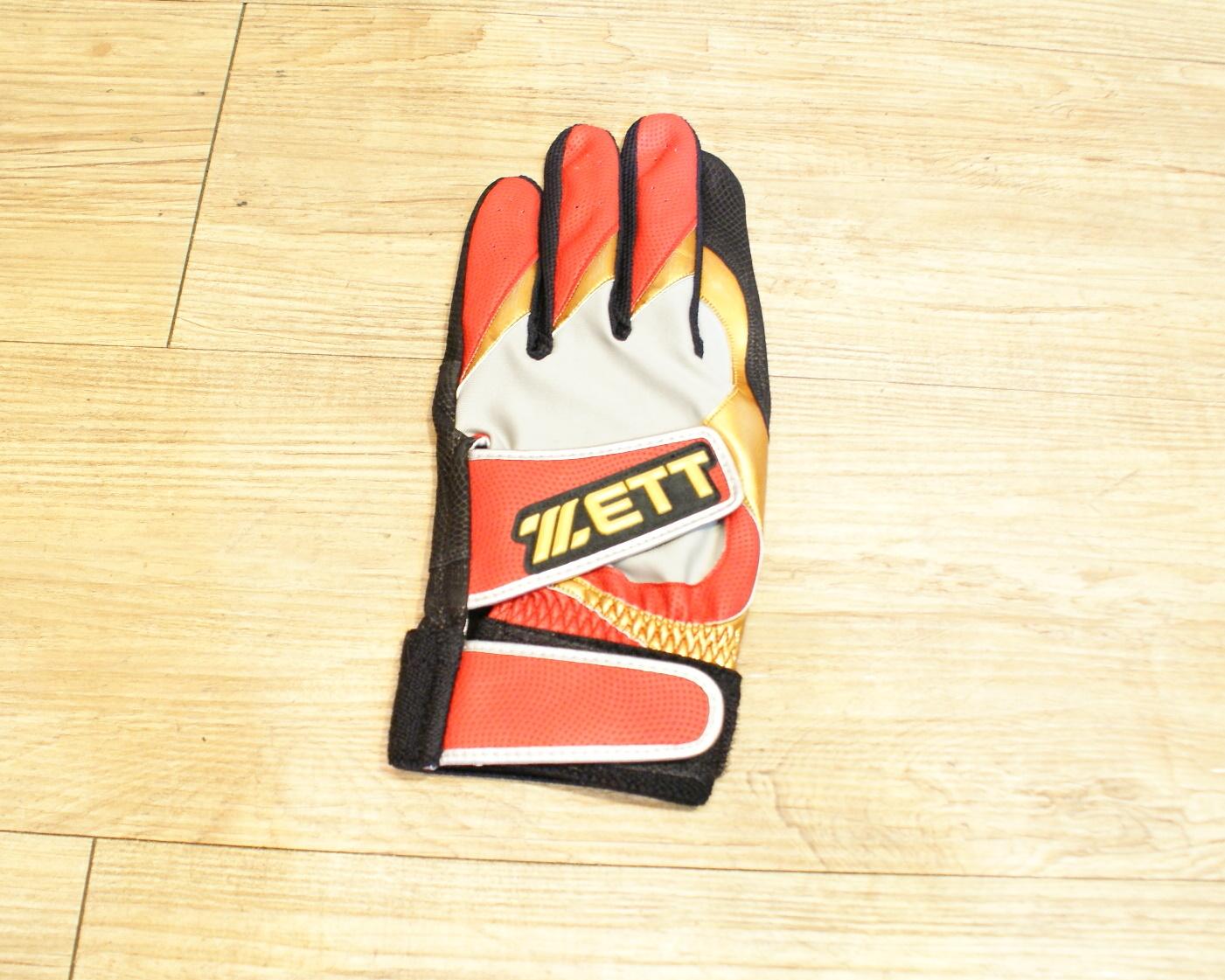 棒球世界 14年ZETT 進口山羊皮打擊手套 特價 雙魔鬼沾設計 黑紅配色