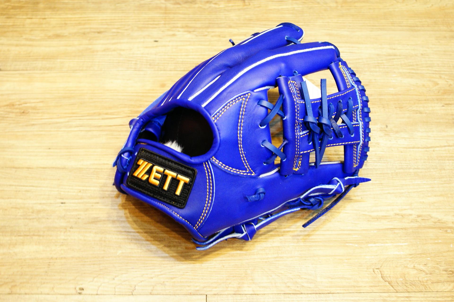 棒球世界 ZETT金標全牛皮棒球手套 特價 3504系列 內野藍色