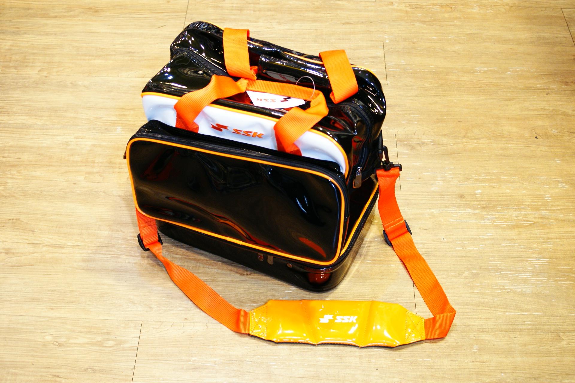 棒球世界 SSK新款個人裝備袋 特價 黑橘樣式配色 6折迎新年出清