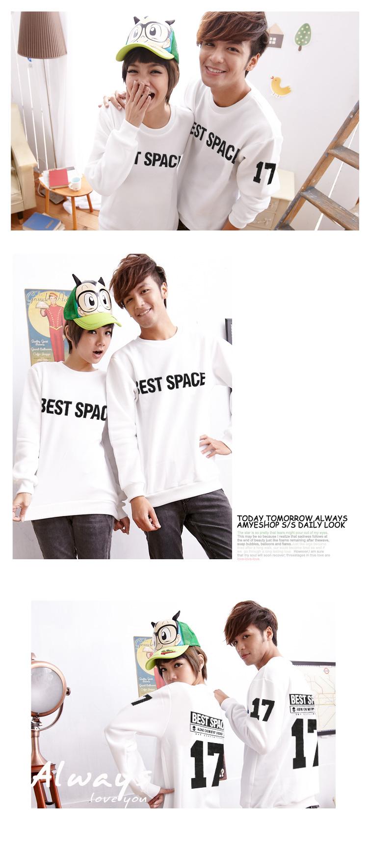 刷毛T恤 T恤 T-Shirt 情侶T恤暖暖刷毛 MIT台灣製 簡約BEST SPACE背號17刷毛T【BG4649】艾咪E舖