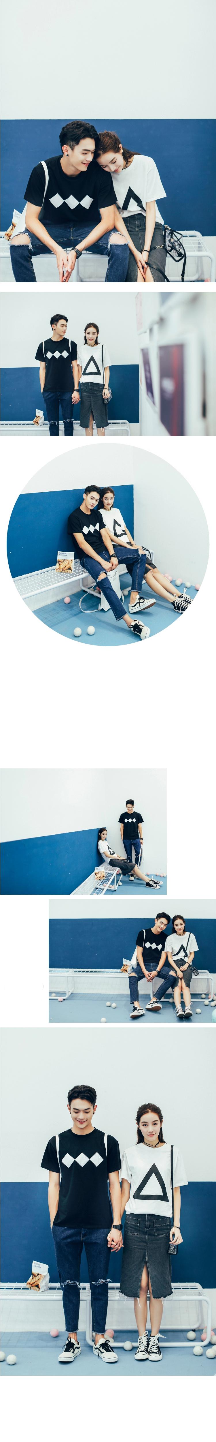 ◆快速出貨◆T恤.情侶裝.班服.MIT台灣製.獨家配對情侶裝.客製化.純棉短T.菱形&三角形幾何圖形【Y0262】可單買.艾咪E舖