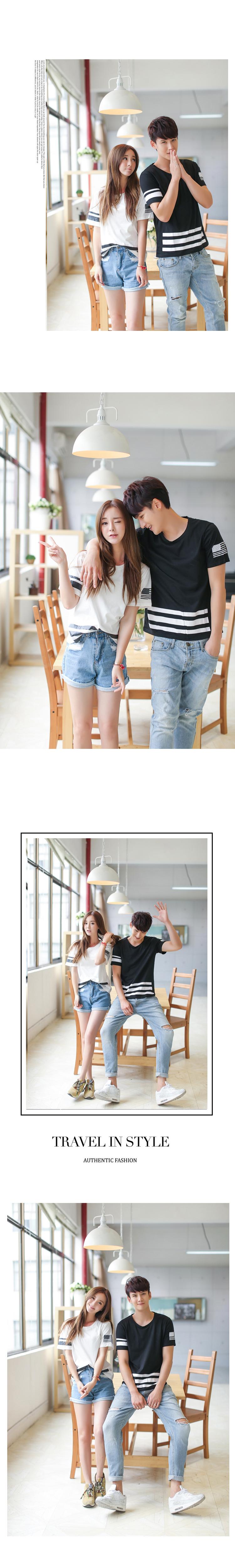 ◆快速出貨◆T恤.情侶裝.班服.MIT台灣製.獨家配對情侶裝.客製化.純棉短T.下擺橫線袖國旗 【Y0322】可單買.艾咪E舖