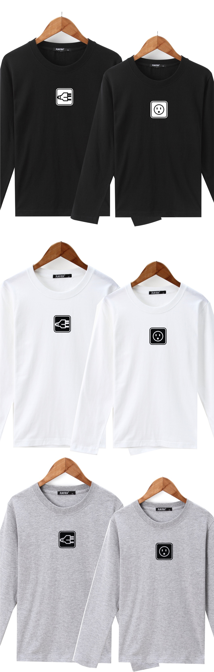 ◆快速出貨◆長袖T恤.情侶裝.班服.MIT台灣製.獨家配對情侶裝.客製化.純棉長T.簡約小圖 插頭與插座【YL0470】可單買.艾咪E舖
