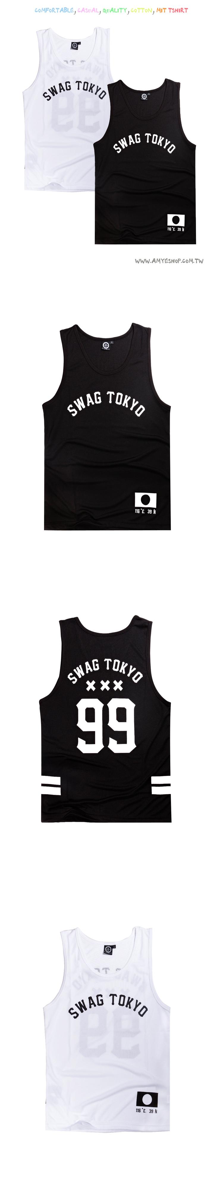 運動背心.SWAG.TOKYO99印花貼標無袖T.男女背心.情侶【D9764】艾咪E舖.黑白潮流