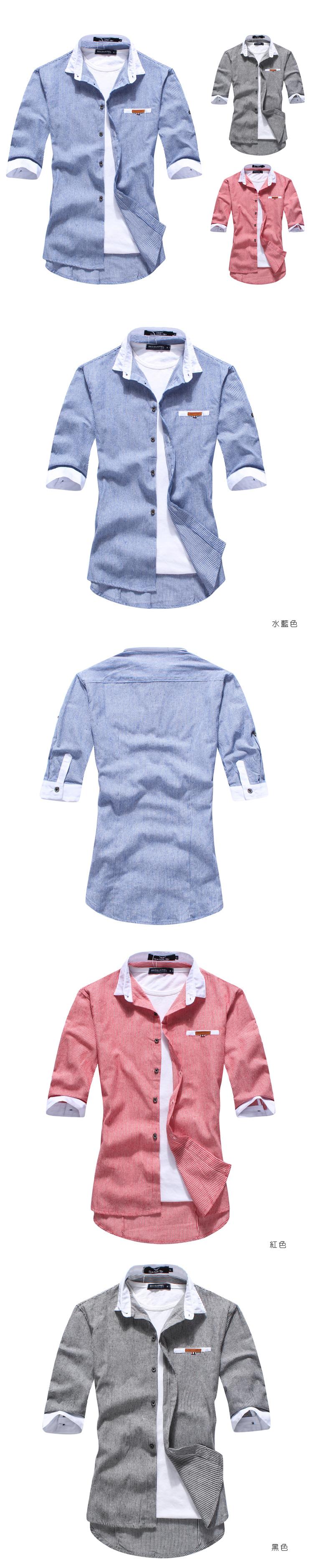 紳士風.襯衫.造型襯衫.情侶裝.簡約小皮標造型口袋短袖襯衫【M50077】艾咪E舖