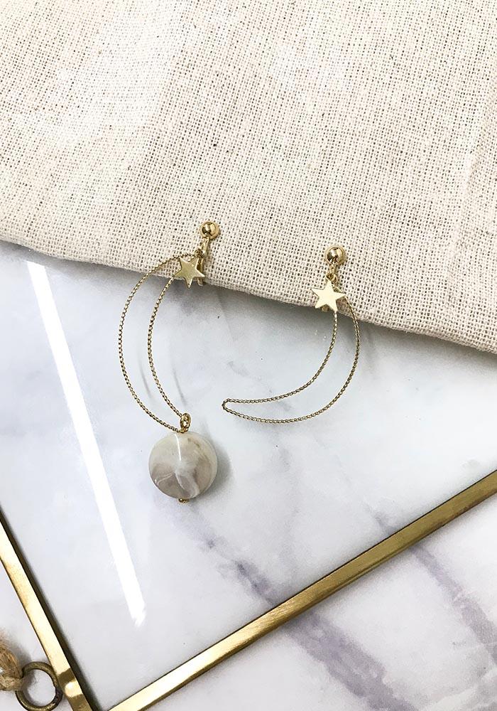 韓國耳環,星星造型耳環,垂墜耳環,夾式耳環,耳夾,月亮造型耳環,簍空造型耳環