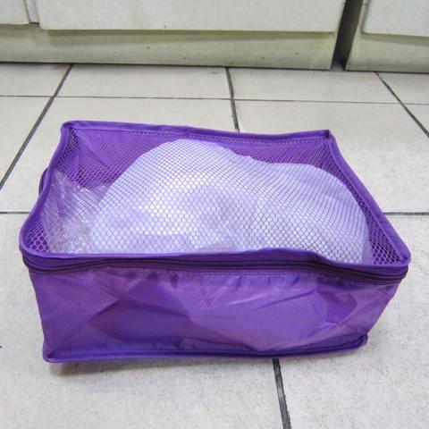 ~雪黛屋~Lina 收納袋分類袋網式設計透氣功能出國旅行物品分類功能袋防水尼龍布材質 #0536紫