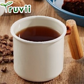 [ Truvii ] 木柄琺瑯杯/木頭琺瑯杯/琺瑯咖啡杯/日系雜貨風馬克杯 400ml月光白
