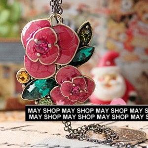 美麗大街【PLGA192】玫瑰花綠葉鑲鑽項鍊