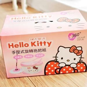 美麗大街【S102011408】Hello Kitty手壓式旋轉拖把組