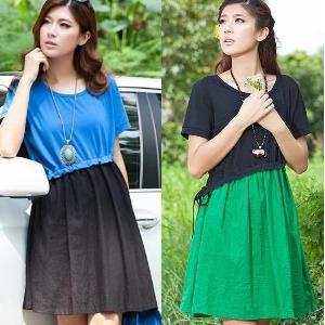 美麗大街【IRS5080】韓版女裝大碼拼接棉麻連衣裙寬鬆裙子