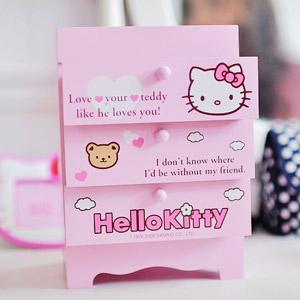 美麗大街【103051010】Hello Kitty 粉紅三層雲朵小熊 木製收納櫃 置物櫃 桌上收納盒