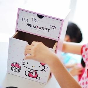 美麗大街【104051712】HelloKitty木製積木桌上抽屜收納盒