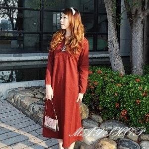 美麗大街【UF010404】甜美條紋幾何娃娃裝/大尺碼洋裝/孕婦裝/長袖洋裝(隨機出貨)