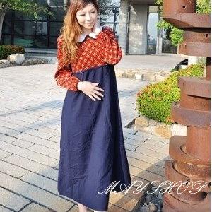 美麗大街【UF010408】甜美條紋幾何娃娃裝/大尺碼洋裝/孕婦裝/長袖洋裝(隨機出貨)